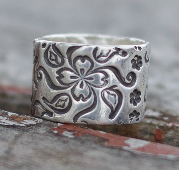 Floral Wide Sterling Silver Ring Band Unique Wedding Ring For Women