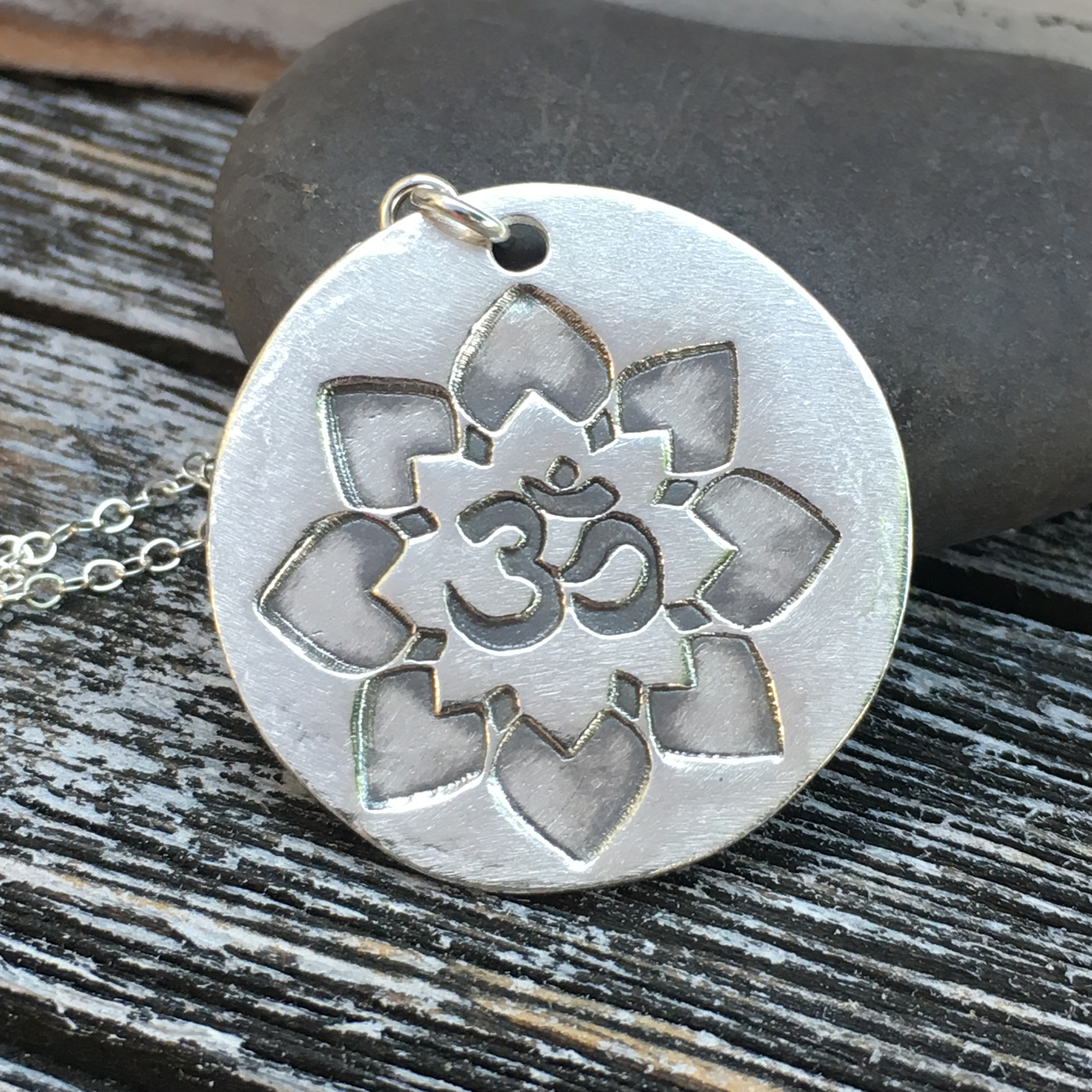 Ohm Symbol Lotus Flower Silver Pendant handcrafted by MGD Casual Jewelry