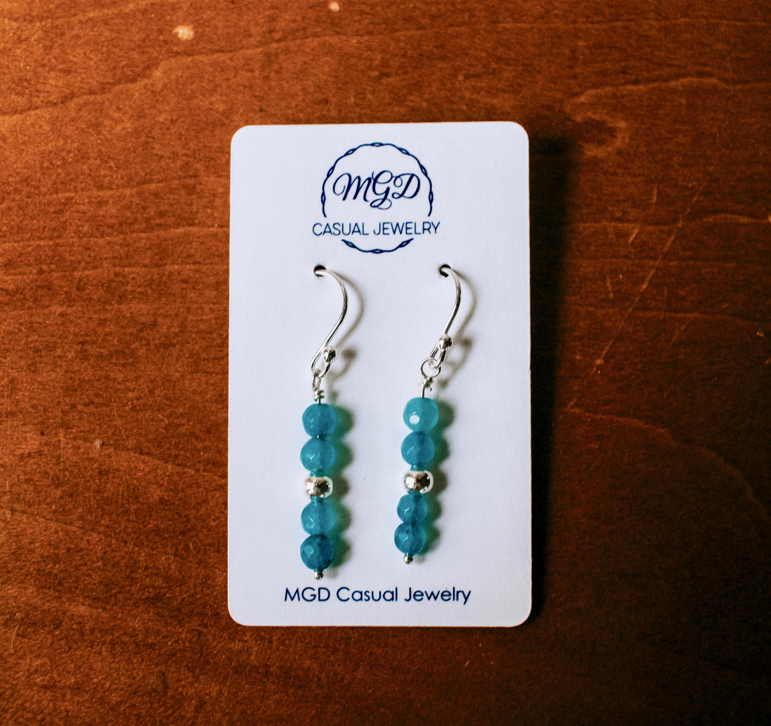 Aqua Blue Angelite Gemstone Sterling Silver Earrings