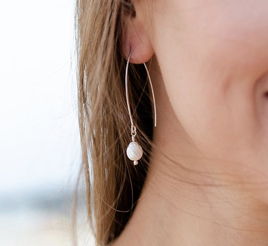 Bridal Drop Cultivated White Pearl Sterling Silver Threader Earring
