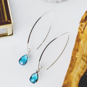 Threader Sterling Silver Earring with Teardrop Quartz Crystal Pendant Aqua color