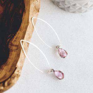 Aretes de Plata con Cristales de Cuarzo Color Rosado