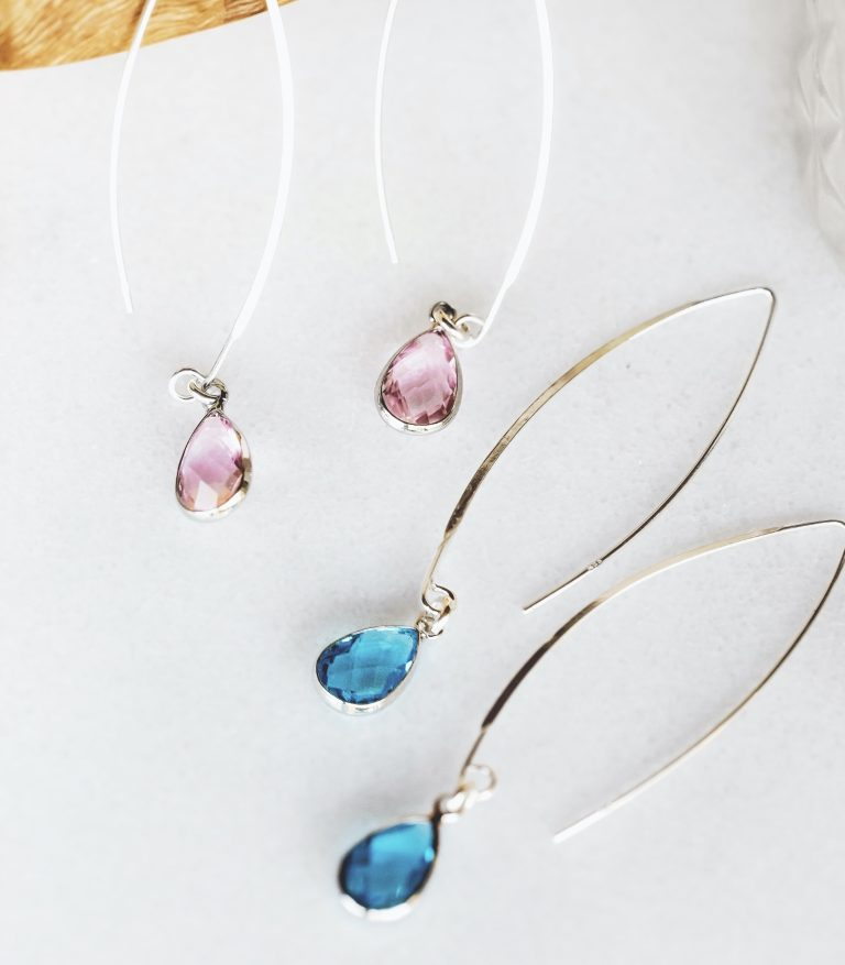 Threader Sterling Silver Earring with Teardrop Quartz Crystal Pendant Pink color